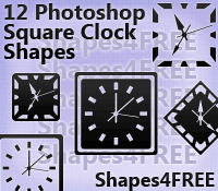 12 Photoshop Square Clock Shapes
