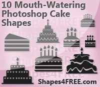 10 Cake Photoshop & Vector Shapes (CSH)