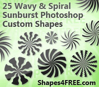 25 Wavy & Spiral Sunburst Shapes for Photoshop