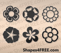 25 Flowers Photoshop & Vector Shapes