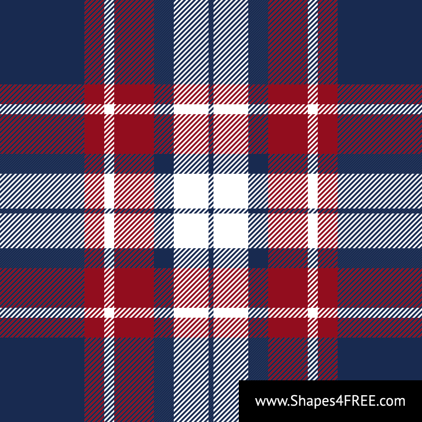 Blue Red White Check Plaid Vector Pattern (SVG)