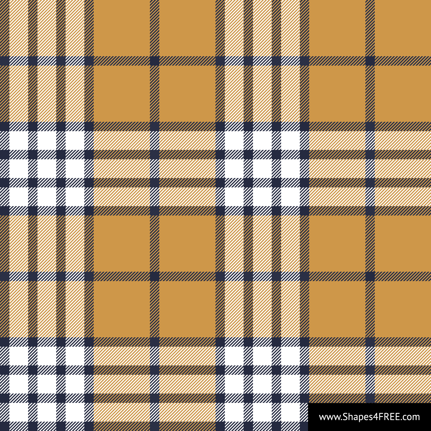Mustard & White Scarf Check Plaid Vector Pattern (SVG)
