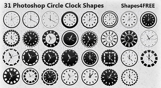 Free Shapes:  31 Photoshop Clock Shapes for Timeless Designs