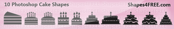 10 Cake Photoshop Custom Shapes – Birthday Cakes
