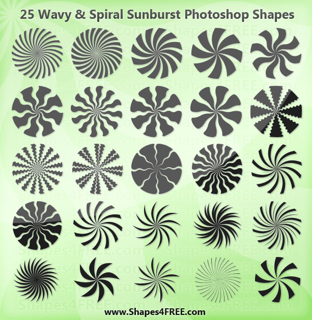 25 Wavy and Spiral Sunburst Shapes for Photoshop