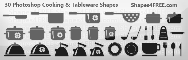 30 Cookware Tableware Photoshop Amp Vector Shapes