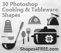 30 Cookware and Tableware Photoshop Shapes (CSH)