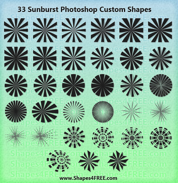 33 Sunburst Photoshop & Vector Shapes (CSH)