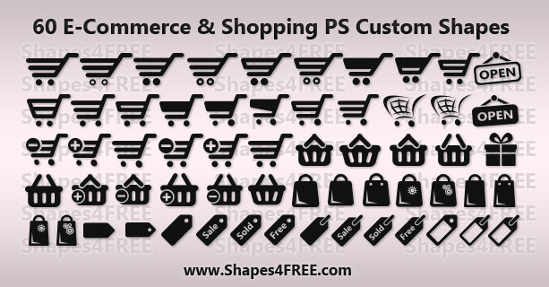 60 Shopping/E-Commerce Photoshop & Vector Shapes (CSH)