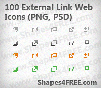 100 External Link Icons (PNG, PSD)