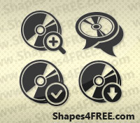 25 CD Disc Photoshop Vector Shapes