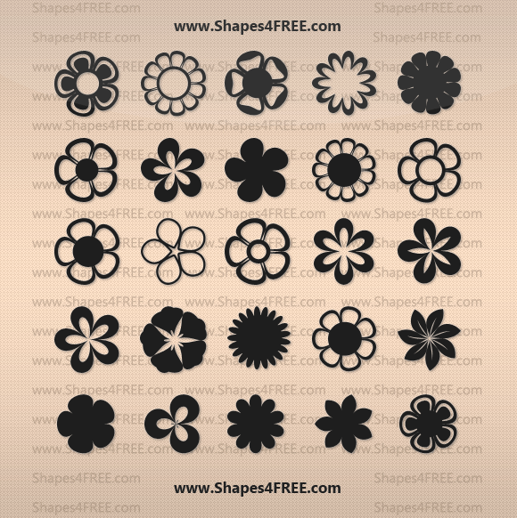 25 Flowers Vector Shapes