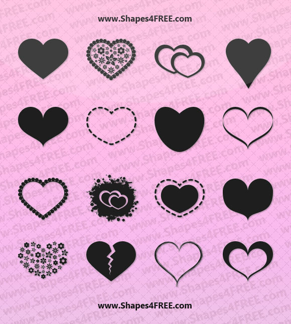 55 Hearts Photoshop & Vector Shapes (SVG, CSH)