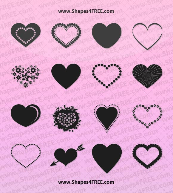 55 hearts photoshop vector shapes csh photoshop custom shapes