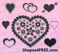 55 Hearts Photoshop & Vector Shapes (CSH)