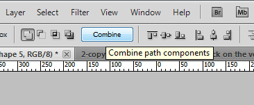 Click the combine button to merge photoshop shapes into one