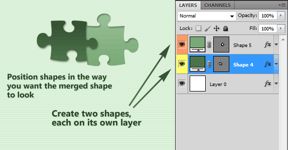 To merge photoshop shapes, position both of them in a way you want the resulting merged shape to look