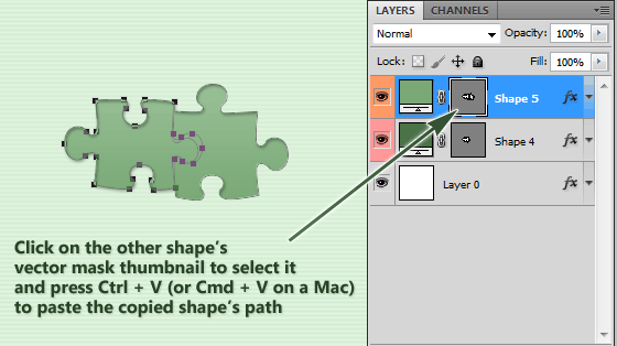 Paste the copied photoshop shape into the selected one