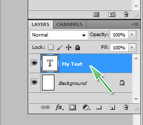 Select the text layer you want to convert to shape