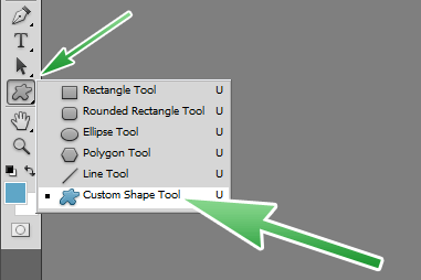 Select the Custom Shape Tool from the Toolbar