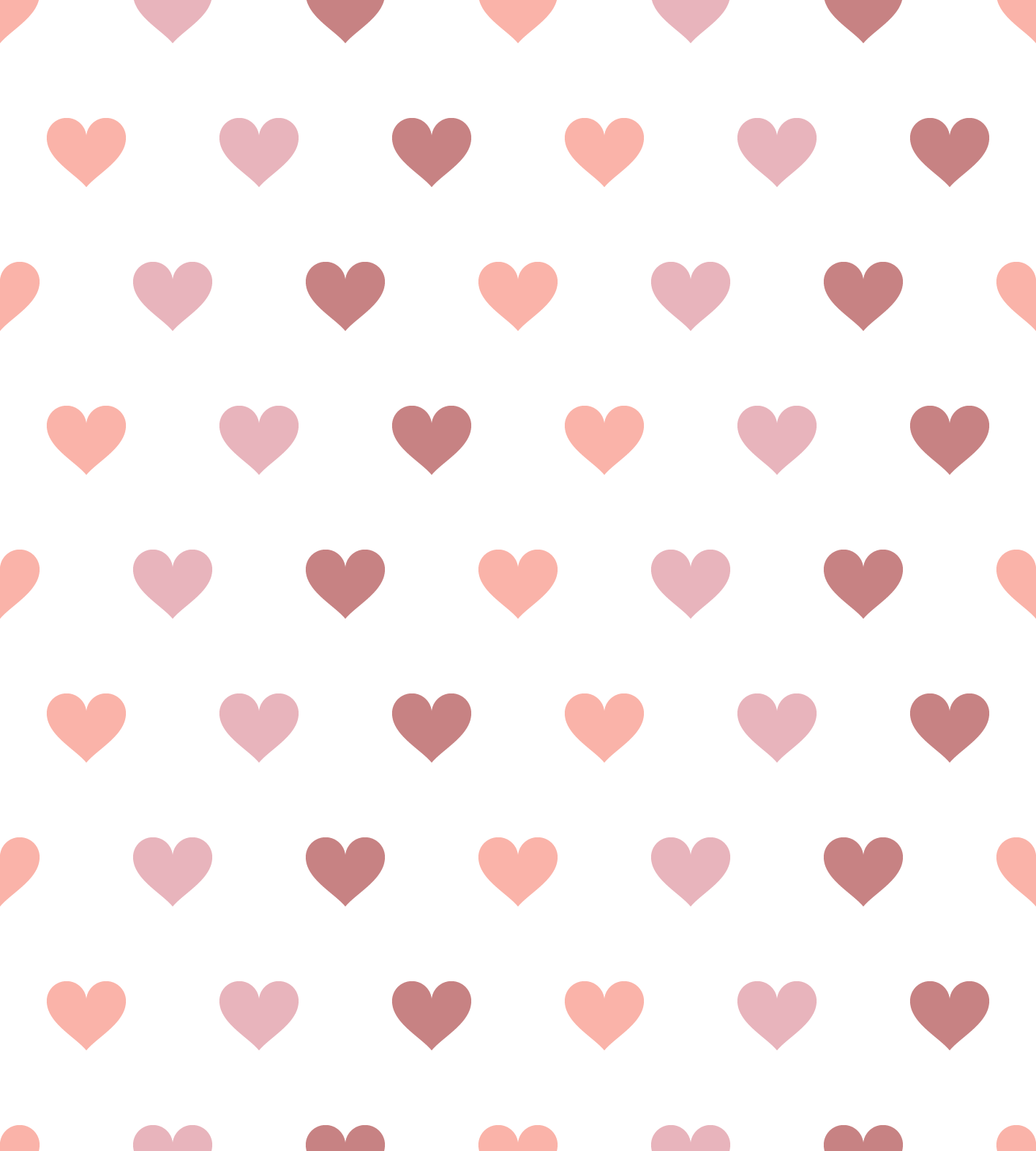 Pink Hearts Vector Pattern On White Background (SVG